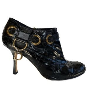 Dior Ankle Booties Cannage Black Patent Leather 37